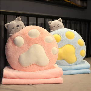 Macaroon Cat Paw Pillow Blanket Combo