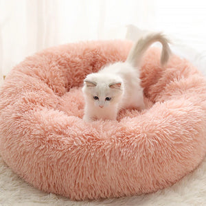 marshmallow cat bed round plush bed peach pink