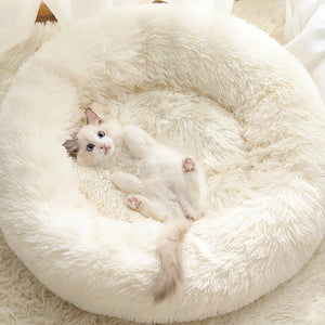 marshmallow cat bed round plush bed ivory white