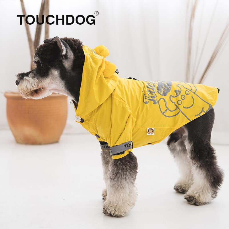 Touchdog-dog-raincoat-Dog-raincoat-with-hood-dog-rain-jacket-small-dog-raincoat-small-dog-raincoat yellow