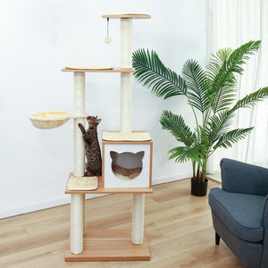 Wooden-Modern-Cat-Tower-cat-tree-king-size-Cat-Furniture-cat-condo-cat-trees-for-large-cats