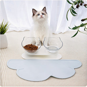 Anti-vomiting-cat-bowl-Posture cat bowl-orthopedic-cat-bowl-raised-cat-bowl-elevated-cat-feeder-cat-bowls-with-stand-cloud-cat-bowl-mat
