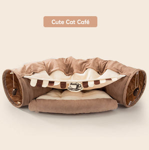 cat tunnel bed brown
