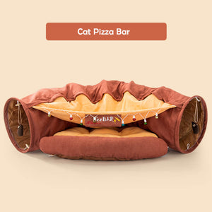 cat tunnel bed pizza red