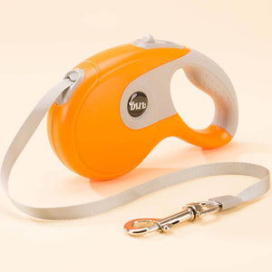 retractable dog leash orange grey
