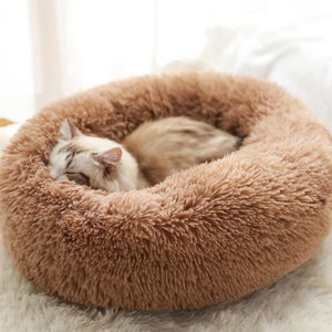 marshmallow cat bed round plush bed brown