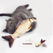 Load image into Gallery viewer, flopping fish cat toy floppy fish moving fish cat toyWagging Fish Cat Toy Catnip cat Kicker fish toy