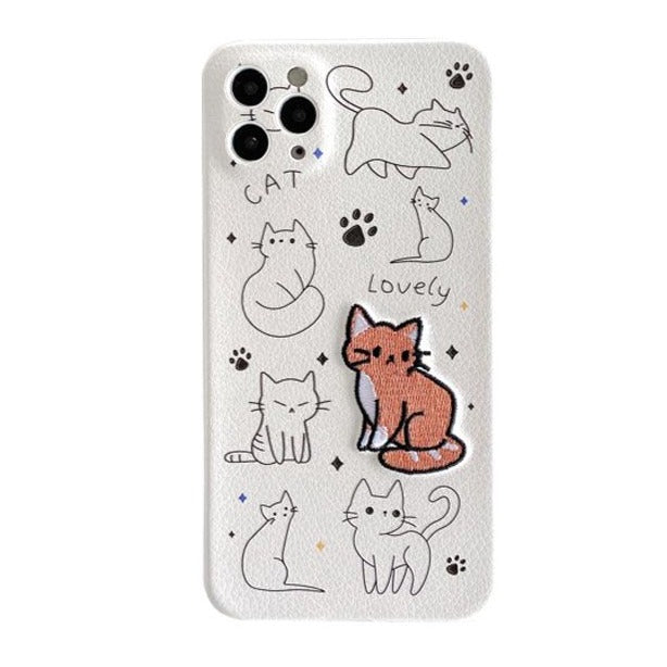 iPhone Case Embroidered Cat