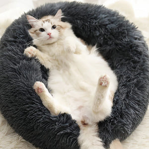 marshmallow cat bed round plush bed dark grey