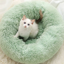 Load image into Gallery viewer, marshmallow cat bed uk round plush bed light green