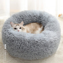 Load image into Gallery viewer, marshmallow cat bed round plush bed light grey