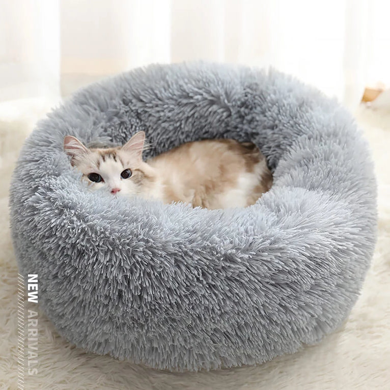 marshmallow cat bed round plush bed light grey