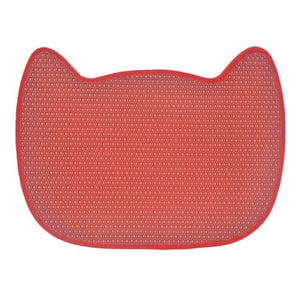 cat face cute cat litter mat red