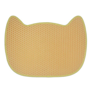 cat face cute cat litter mat yellow