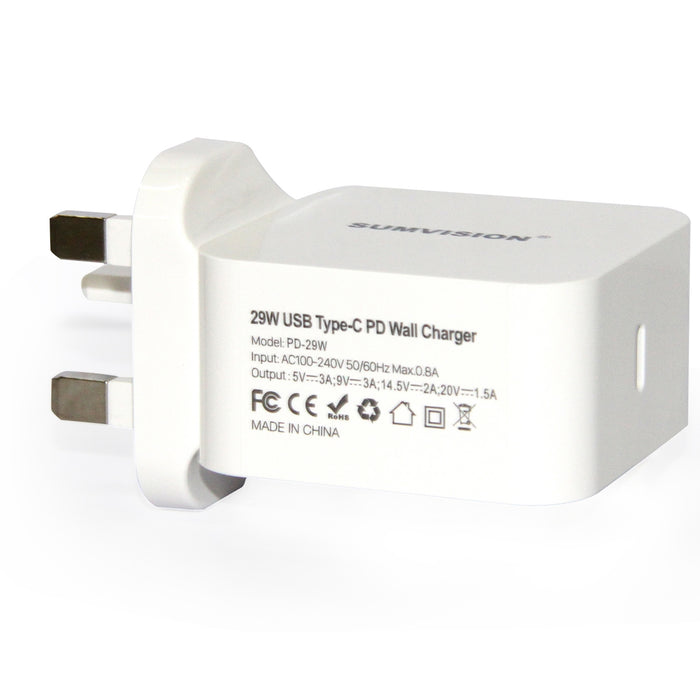 SUMVISION 1 Port Type-C 29W PD Fast USB-C Wall Charger