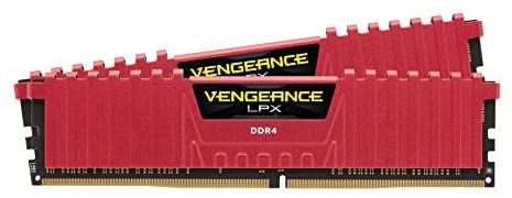 Corsair CMK16GX4M2A2400C16R Vengeance LPX 16 GB (2 x 8 GB) DDR4 2400 MHz C16 XMP 2.0 High Performance Desktop Memory Kit, Red