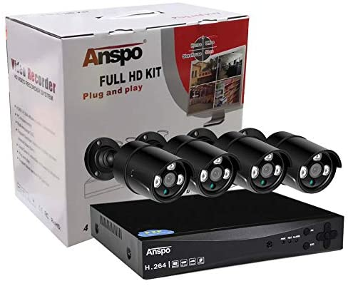 ANSPO Security True 1080p CCTV Surveillance Camera System Kit, 4 Channel 1080p DVR with 4x 2.0MP Indoor Outdoor Bullet Cameras and 2TB Hard Drive