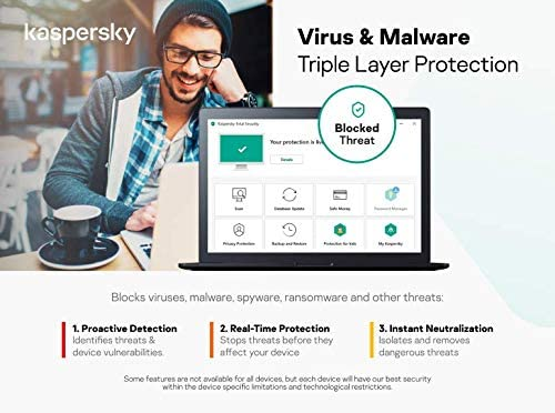Kaspersky Internet Security 2021, 3 Devices, 1 Year, Antivirus and Secure VPN Included, PC/Mac/Android, Activation Code by Post