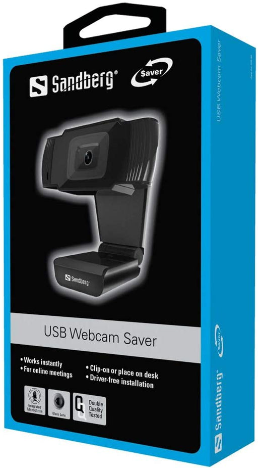 Sandberg USB Webcam Saver, 480p, Mic, Auto Light Correction, 30° Rotatable