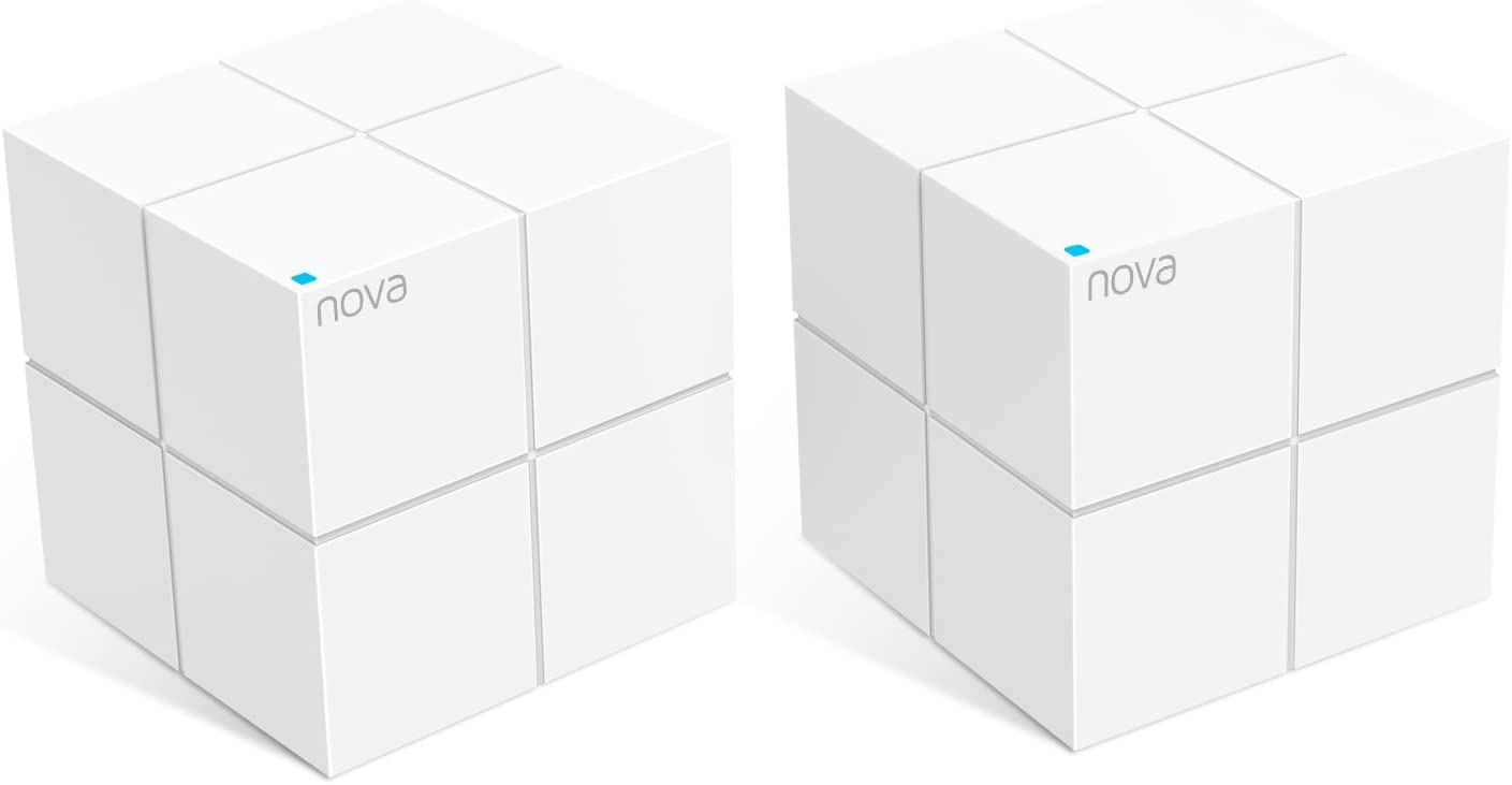 Tenda Nova MW6-2 Whole Home Mesh Wi-Fi System; Get Rid of Wi-Fi Dead Zones; 4000sq² Wi-Fi Coverage, Two Gigabit Network Ports, App Control, Easy Set Up, Pre Configured (Pack of 2)
