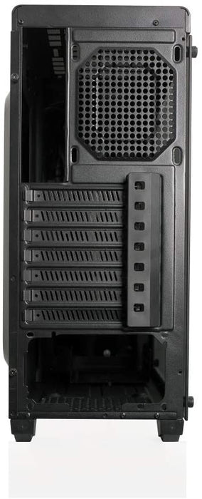 Riotoro CR100TG RGB Gaming Case with Tempered Glass Window & RGB Front Panel, ATX, No PSU, 1 x 12cm Fan, Black
