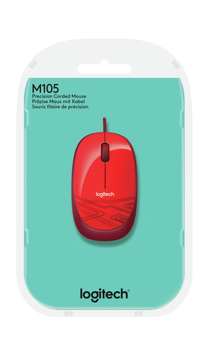 Logitech Mouse M105 Corded, Red
