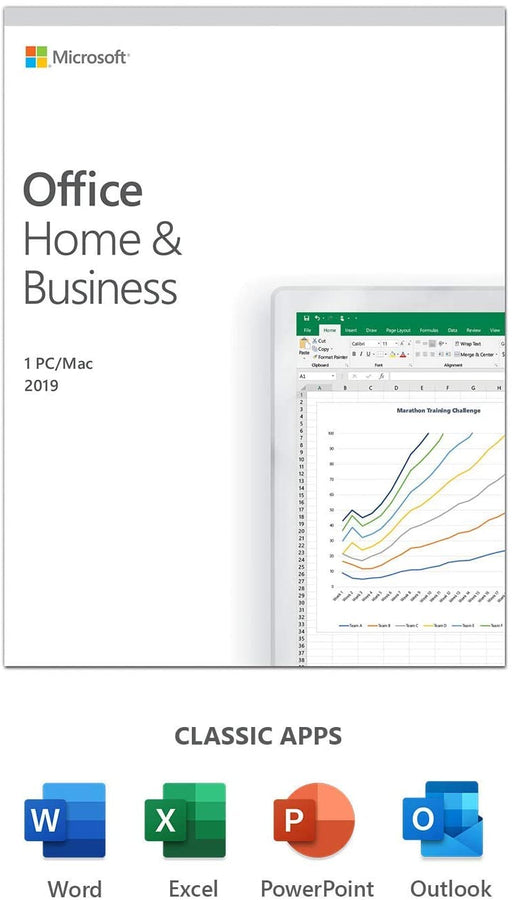 Microsoft Office 2019 Home & Business, PKC (OEM), 1 License, Media less (Product Key Inside - No Disc)