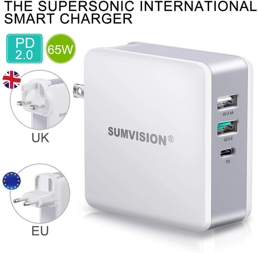 Apple Macbook Compatible SUMVISION 3 Ports Type-C 2 x USB-A  PD Fast USB-C Charger with Cable