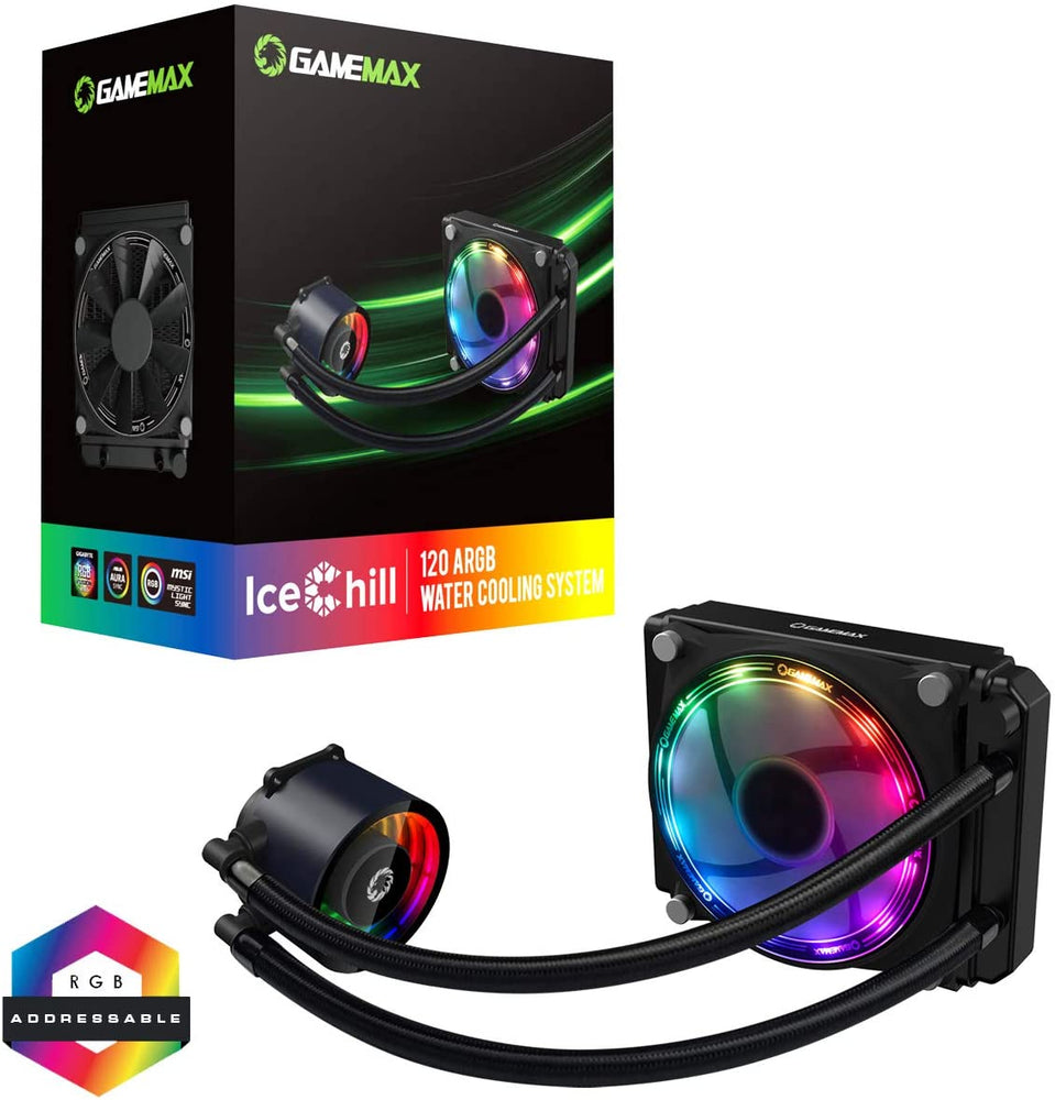 GameMax Ice Chill 120mm ARGB AIO Water Cooling System, Infinty Mirror Design, 1 x 120mm ARGB Fan, Aura Sync, AMD & Intel Compatible, Black