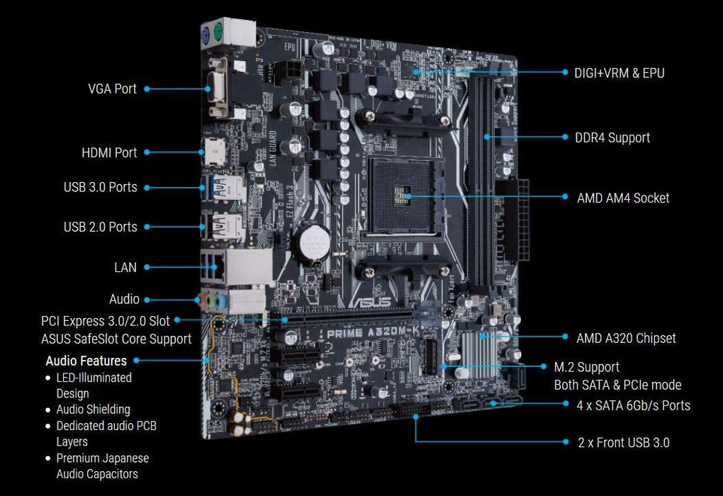 Asus PRIME A320M-K, AMD A320, AM4, Micro ATX, 2 DDR4, VGA, HDMI, RAID, LED Lighting, M.2