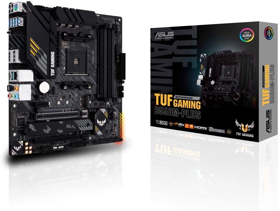 Asus TUF GAMING B550M-PLUS Motherboard, AMD B550, AM4, Micro ATX, 4 DDR4, HDMI, DP, XFire, 2.5GB LAN, PCIe4, RGB Lighting, M.2