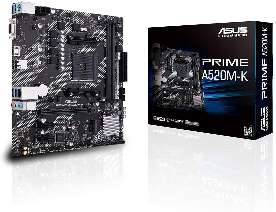 ASUS Prime A520M-K AMD A520, Ryzen AM4, micro ATX motherboard with M.2 support, 1 Gb Ethernet, HDMI/D-Sub, SATA 6 Gbps, USB 3.2 Gen 1 Type-A
