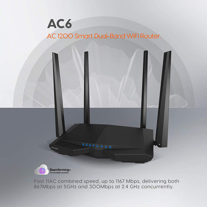 Tenda AC6 AC1200 Wireless Dual Band Router, Black 3-port Wireless Cable