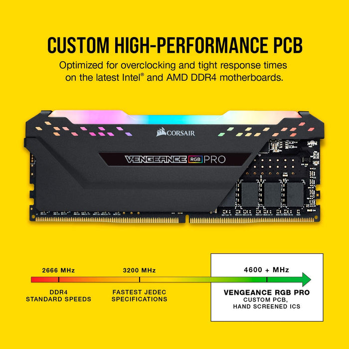 Corsair Vengeance RGB PRO 16 GB (2 x 8 GB) DDR4 2666 MHz C16 XMP 2.0 Enthusiast RGB LED Illuminated Memory Kit - Black