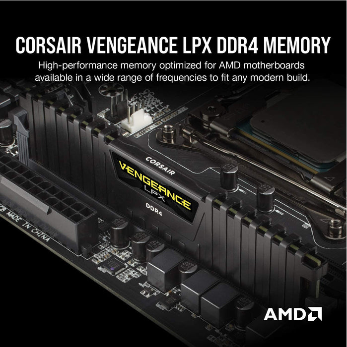Corsair Vengeance LPX 16GB Kit (2 x 8GB), DDR4, 2400MHz (PC4-19200), CL16, XMP 2.0, DIMM Memory