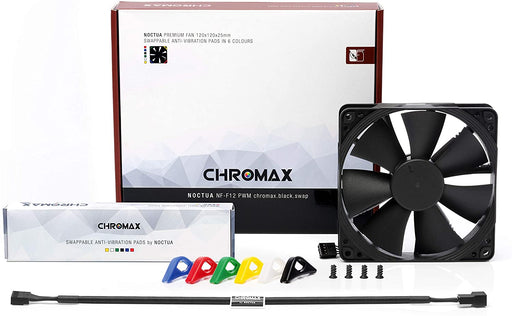 Noctua NF-F12 PWM Air Cooler, chromax.black.swap, Premium Quiet Fan, 4-Pin (120mm, Black)