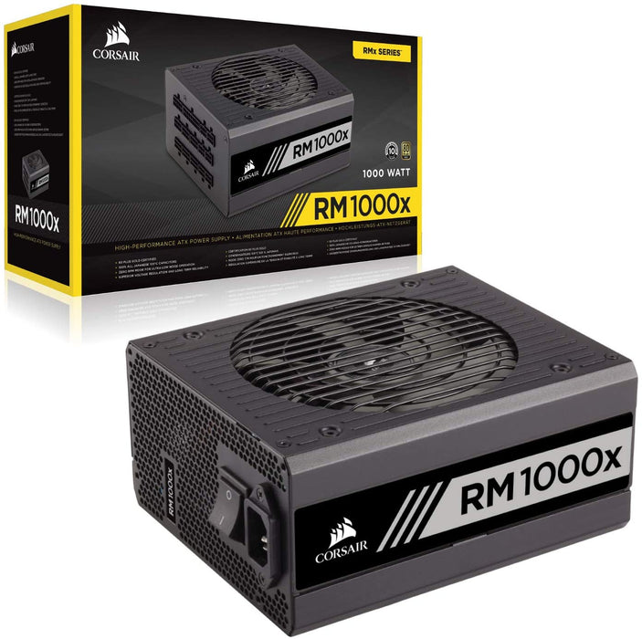 Corsair 1000W Enthusiast Series RM1000X PSU, Rifle Bearing Fan, Fully Modular, 80+ Gold