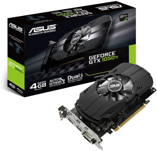 Asus nVidia GeForce GTX 1050 PH-GTX1050TI-4G 4 GB GDDR5 128 Bit Memory HDMI/DP/DVI PCI Express 3 Graphics Card, Black
