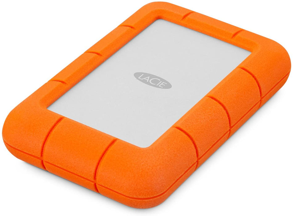 LaCie Rugged Mini 4TB USB 3.0 Portable 2.5 inch External Hard Drive for PC and Mac, orange white