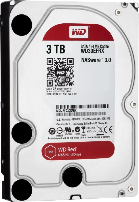 Western Digital Red 3TB NAS 3.5 Inch Internal Hard Drive - 5400 RPM Class, SATA 6 Gb/s, CMR, 64 MB Cache - WD30EFRX
