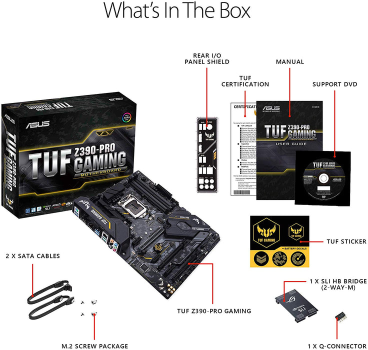 ASUS TUF Z390-Pro Gaming LGA1151 (Intel 8th and 9th Gen) ATX DDR4 HDMI M.2 USB 3.1 Gen2 Gigabit LAN Motherboard, Black