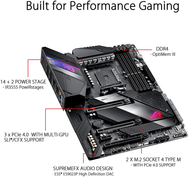 Asus ROG CROSSHAIR VIII HERO, AMD X570, AM4, ATX, 4 DDR4, SLI/XFire, 2.5GB LAN, PCIe4, RGB Lighting, M.2