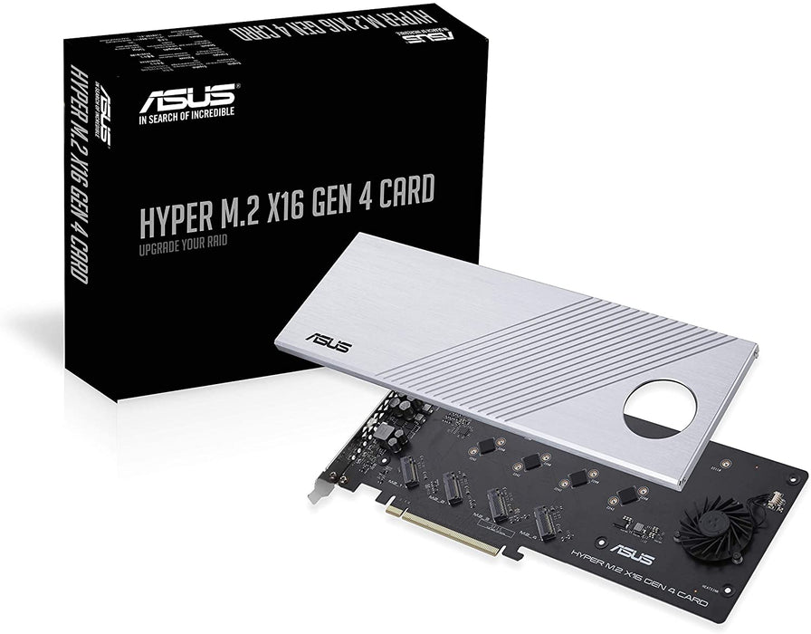Asus Hyper M.2 x16 Gen 4 Card (PCIe 4.0/3.0), Supports four NVMe M.2 Devices & PCIe 4.0 NVMe RAID and Intel RAID-on-CPU, I/O Device