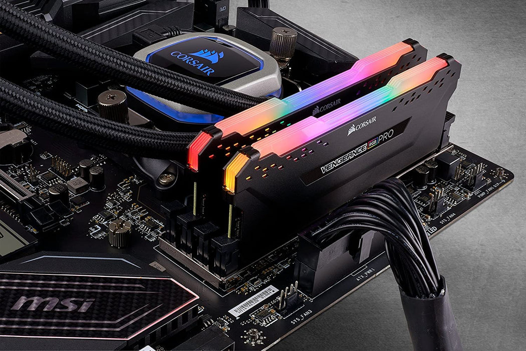 Corsair Vengeance RGB Pro 16GB Memory Kit (2 x 8GB), DDR4, 3200MHz (PC4-25600), CL16, XMP 2.0, Black