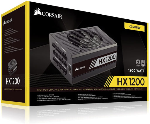 Corsair 1200W Professional HX Series HX1200 PSU, Fluid Dynamic Fan, Fully Modular, 80+ Platinum