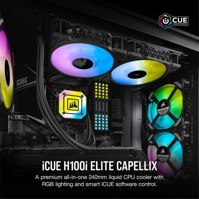 Corsair iCUE H100i ELITE CAPELLIX Liquid CPU Cooler (33 Ultra-Bright CAPELLIX RGB LEDs, Two 120 mm ML RGB Series PWM Fans, 400 to 2,400 RPM) Black