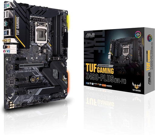 Asus TUF GAMING Z490-PLUS (WI-FI), Intel Z490, 1200, ATX, 4 DDR4, XFire, HDMI, DP, AX Wi-Fi, RGB Lighting, M.2