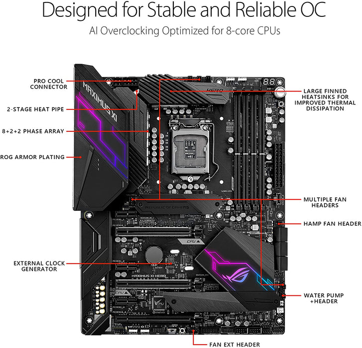 ASUS Intel Z390 ROG MAXIMUS XI HERO 9/8th Gen ATX Gaming Motherboard, DDR4 DP HDMI M.2 USB 3.1 Gen2