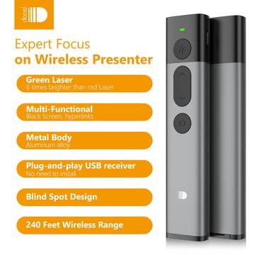 Doosl Green Laser Presentation Remote - 2.4GHz Wireless PowerPoint Slides Clicker with Astronomy-Level Green Laser Pointer, Metal Build Quality
