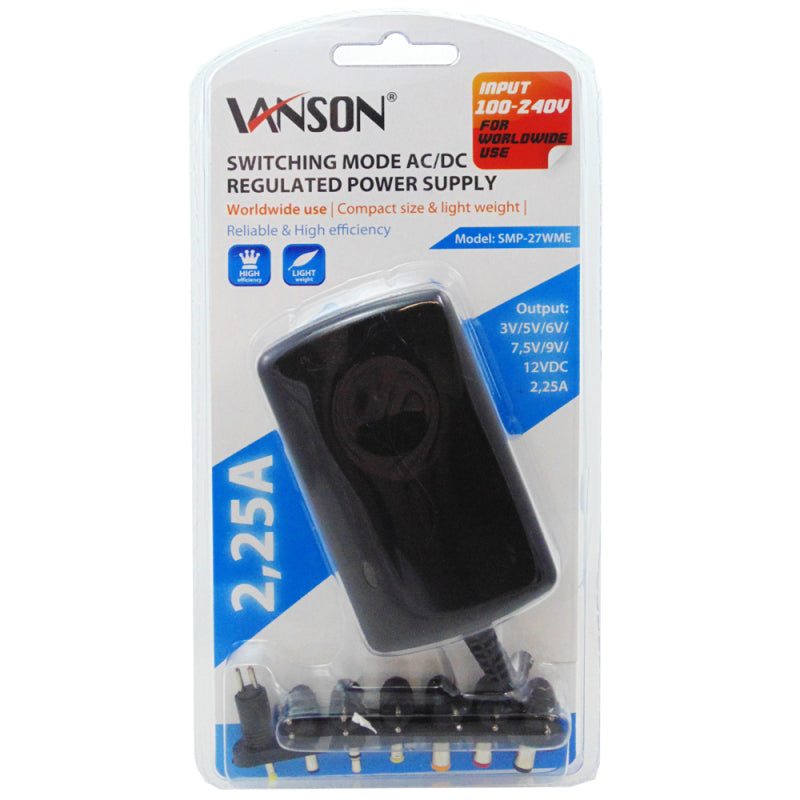 Vanson 27W Switching Mode AC/DC Regulated Power Supply (SMP-27WME)